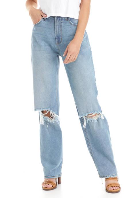 5 Pocket Baggy Straight Denim Jeans