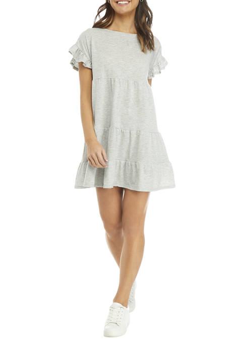 Short Flutter Sleeve Tiered Dress