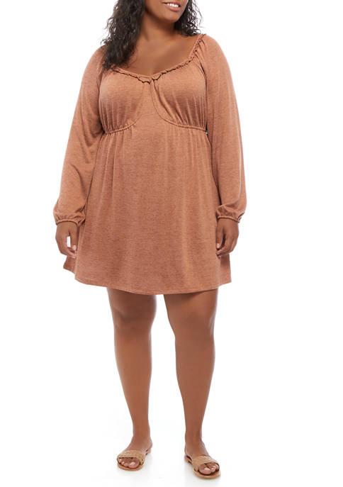 Plus Size  Blouson Sleeve Babydoll Dress