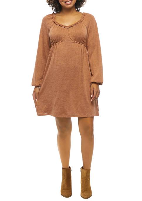 Juniors Blouson Sleeve Babydoll Dress