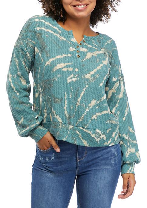 TRUE CRAFT Tie Dye Oversized Waffle Henley Shirt