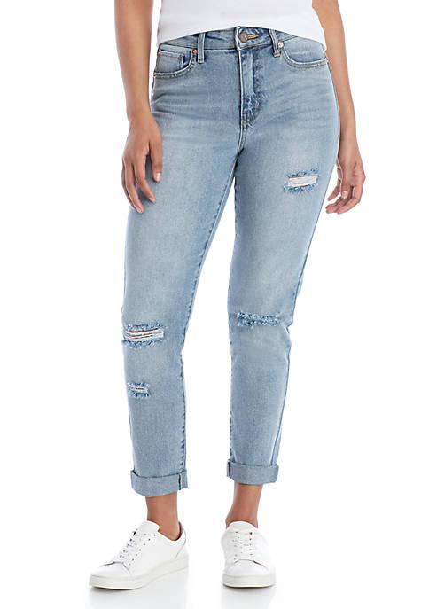 ASHLEY MASON High Rise Destroyed Boyfriend Jeans