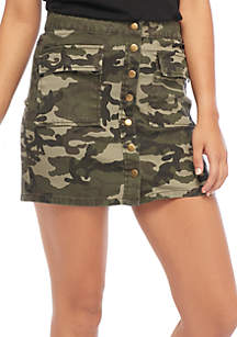 Twill Button Front Camo Skirt