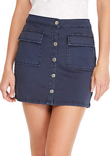 Button Front Twill Pocket Mini Skirt