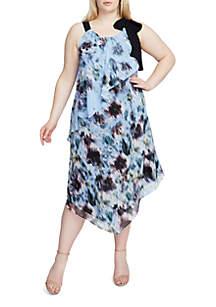 Plus Size Printed Tie Neck Scarf Dress
