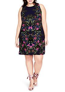 Plus Size Printed Knit Shift Dress