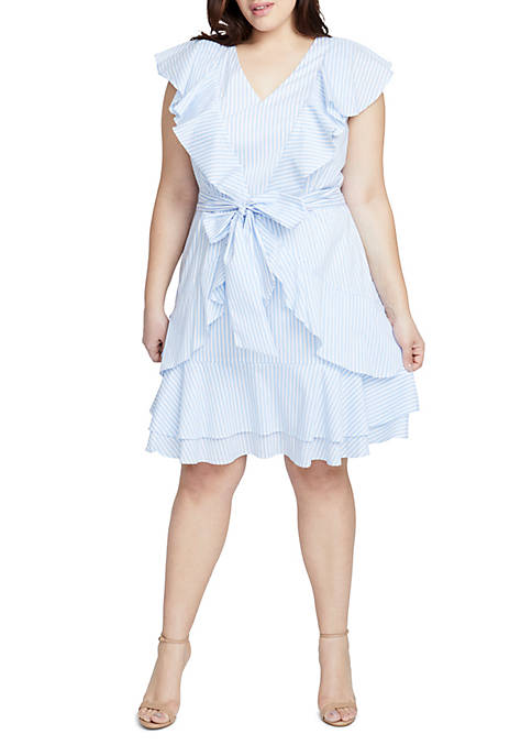 RACHEL Rachel Roy Plus Size Ruffle Fit-And-Flare Pinstripe