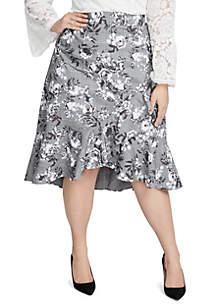 Plus Size Bailen Ruffle Printed Skirt