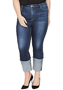 Plus Size Straight Stud Cuff Jeans