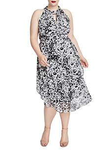 Plus Size Leopard Chiffon Midi Dress