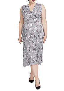 Plus Size Print Wrap Dress