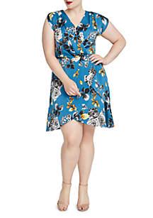 Plus Size Floral Print Wrap Dress