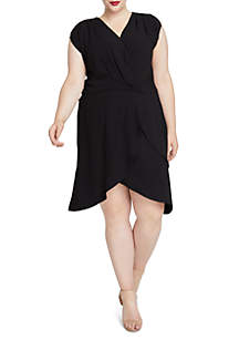 Plus Size Solid Wrap Dress