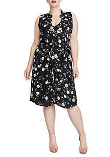 Plus Size Midi Floral Wrap Dress