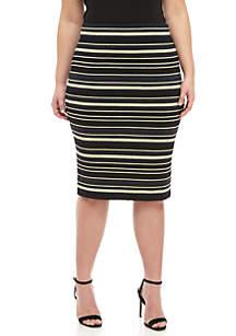 Plus Size Zuri Metallic Stripe Sweater Skirt
