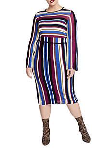 Plus Size Royal Stripe Pencil Skirt Dress