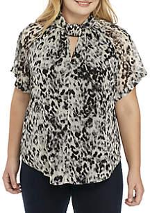 Plus Size Leopard Chiffon Kimono Blouse