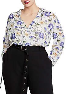 Plus Size Front Wrap Floral Blouse