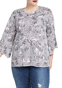 Plus Size Three-Quarter Flare Sleeve Floral Blouse