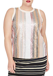 Plus Size Twyla Sequin Stripe Tee