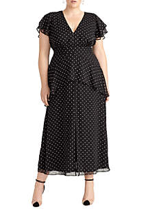 Plus Size Ruched Dot Woven Dress