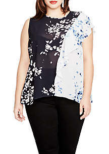 Plus Size Printed Ruffle Blouse