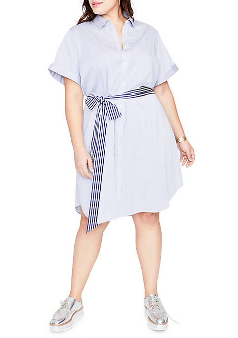 RACHEL Rachel Roy Plus Size Stripe Shirtdress