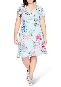 Plus Size Printed Ruffle Sleeve Dress