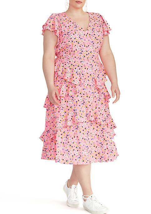 RACHEL Rachel Roy Plus Size Fabianne Ruffle Dress
