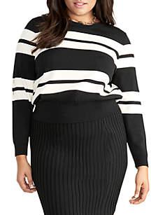 RACHEL Rachel Roy Plus SIze Cecily Long Sleeve Striped Sweater