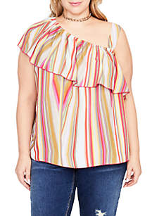 Plus Size Layered One-Shoulder Blouse