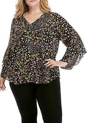 a4ff2761d7095 RACHEL Rachel Roy Plus Size Iris Ruffle Sleeve Woven Printed Top ...