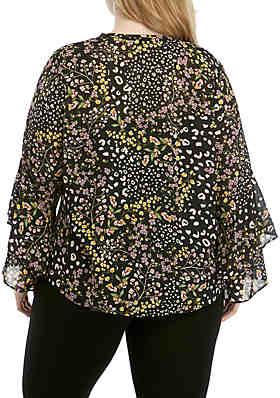 e837e2d3abaa7 ... RACHEL Rachel Roy Plus Size Iris Ruffle Sleeve Woven Printed Top