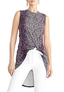 RACHEL Rachel Roy Kris Knot Front Cheetah Top
