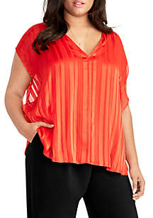 RACHEL Rachel Roy Plus Size Short Sleeve Tonal Stripe Top