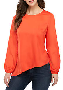 RACHEL Rachel Roy Plus Size Susana Long Sleeve Asymmetrical Blouse