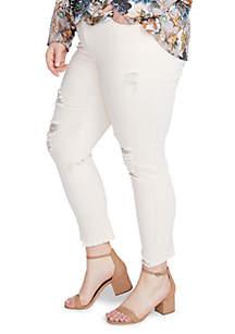 Plus Size Hem Destructed Skinny Jeans