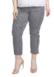 Plus Size High Waist Gingham Pedal Trouser