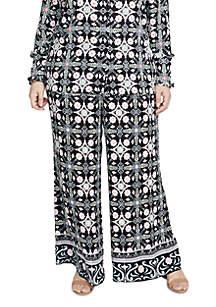 Plus Size Tile Print Soft Pants
