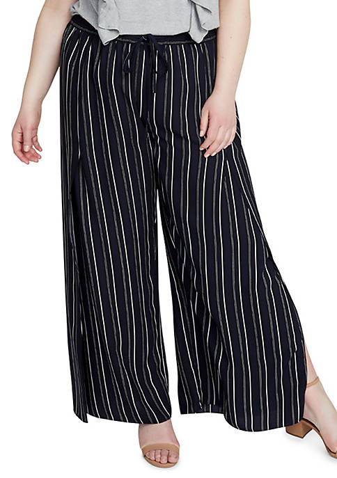 RACHEL Rachel Roy Plus Size Stripe Soft Pant