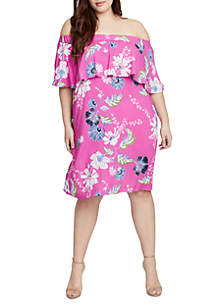 Plus Size Ruffle Off-the-Shoulder Floral Dress