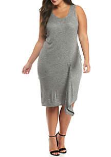 Plus Size Asymmetrical Ruffle Dress