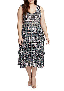 Plus Size Tile Print Dress