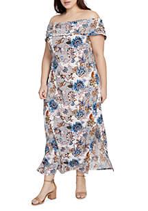 Plus Size Off-The-Shoulder Wanderlust Maxi Dress