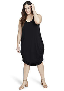 Plus Size Tie Back Side Ruched Dress