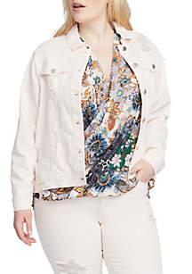 Plus Size Destructed Denim Jacket