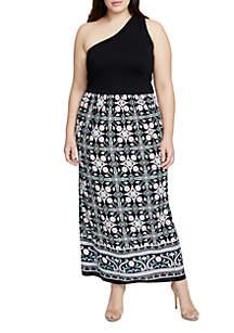 Plus Size One-Shoulder Mix Media Print Maxi Dress