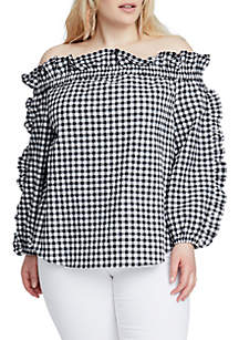 Plus Size Ruffle Gingham Top
