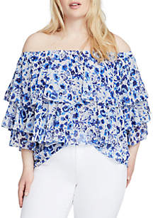 Plus Size Off-The-Shoulder Floral Ruffle Blouse