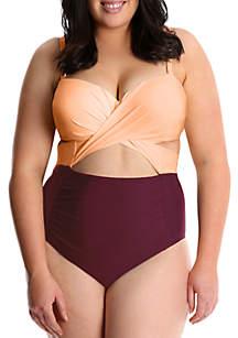 Lysa Plus Size Blocked Style Retro One Piece Swimsuit